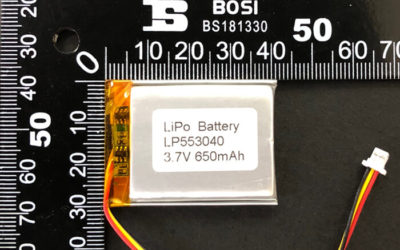 Rechargeable LiPoly Battery LP553040 3.7V 650mAh with Protection Circuit & Connector JST SHR-03V-S-B