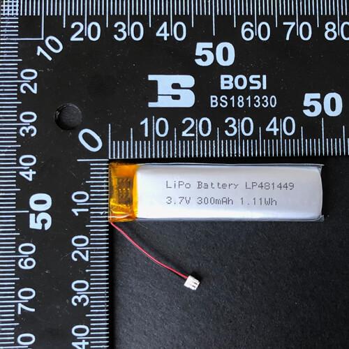 LiPoly Battery LP481449 3.7V 300mAh with PCM & JST 02SUR-32S