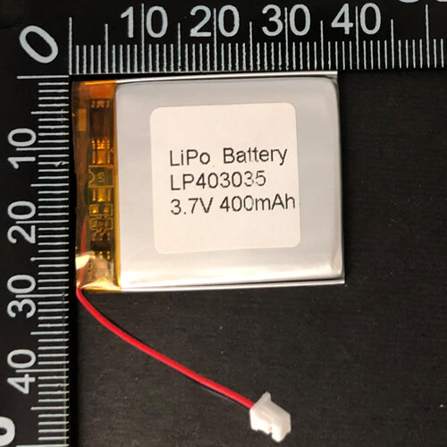 LiPoly Battery LP403035 3.7V 400mAh with PCM & Molex 51021-0200