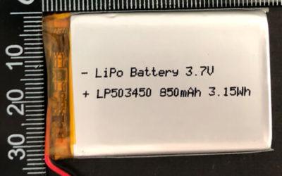 LiPoly Battery LP503450 3.7V 850mAh with PCM
