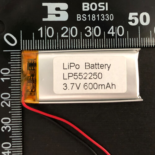 LiPoly Battery LP552250 3.7V 600mAh with PCM