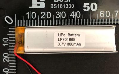 LiPoly Battery LP701865 3.7V 800mAh with PCM