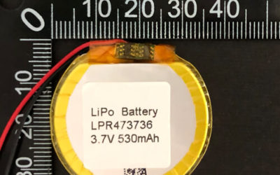 Round LiPoly Battery LPR473736 3.7V 530mAh with PCM